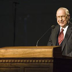 President James E. Faust, second counselor in The First Presidency of the Church of Jesus Christ of Latter-day Saints, died early Friday. He spoke at the groundbreaking of the Oquirrh Mountain Utah Temple in South Jordan on Dec. 16, 2006.