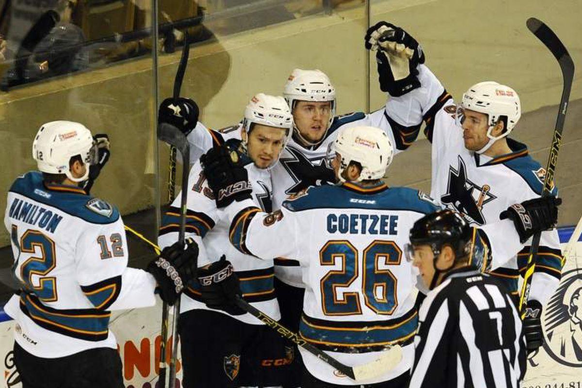 The Worcester Sharks celebrate forward Daniil Tarasov's first period goal at the DCU Center Tuesday night (Christine Hochkeppel/Telegram.com).