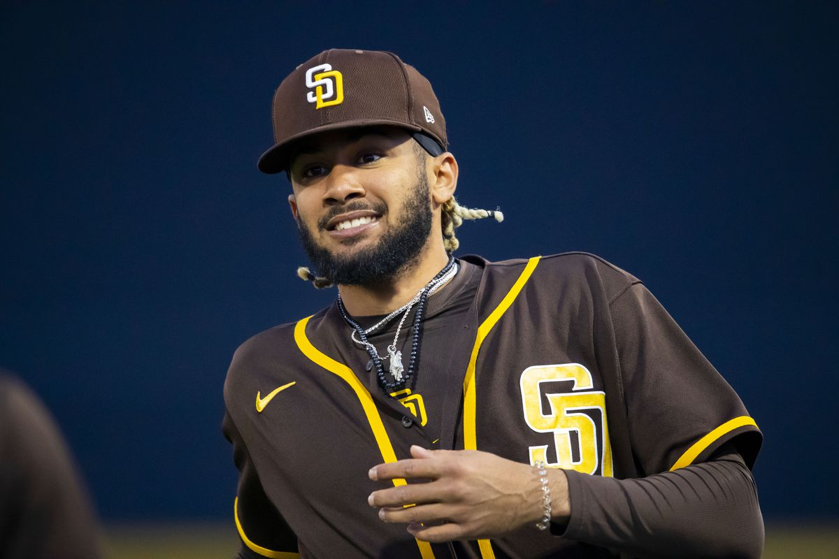 San Diego Padres designated hitter Fernando Tatis Jr against the Texas Rangers during a Spring Training game at Peoria Sports Complex.