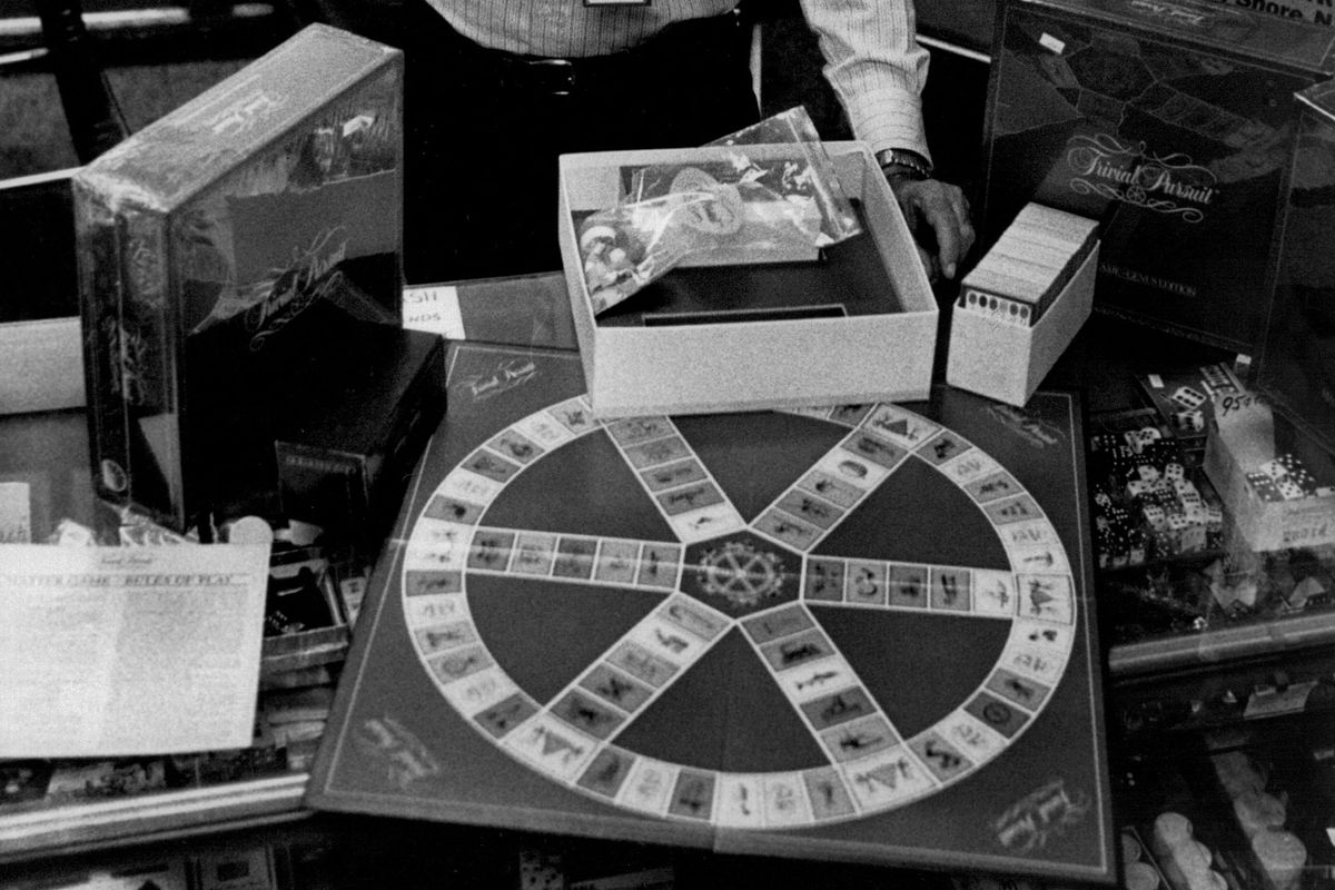 APR 19 1984, APR 20 1984; Cindererella City; (IT,s Your Move) Om Khanna with Trivial Pursuit games;