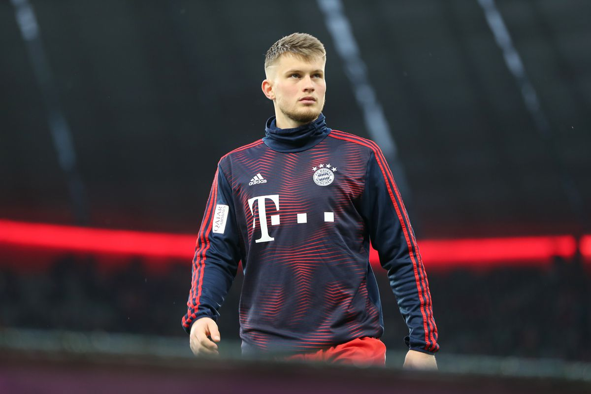 MUNICH, GERMANY - MARCH 17: Lars Lukas Mai of FC Bayern Muenchen leaves the pitch after the warm-up session ahead of the Bundesliga match between FC Bayern Muenchen and 1. FSV Mainz 05 at Allianz Arena on March 17, 2019 in Munich, Germany.