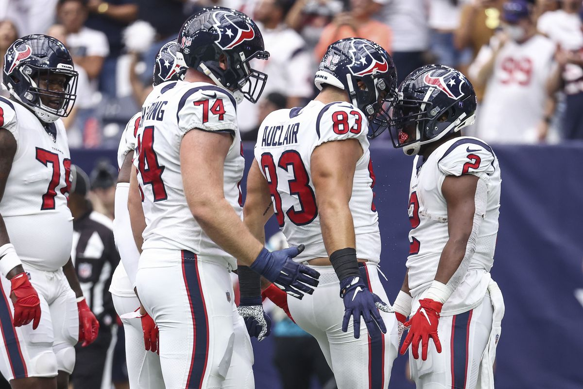 Houston Texans running back Mark Ingram (2) celebrates with teammates after scoring a touchdown during the first quarter against the Jacksonville Jaguars at NRG Stadium. Mandatory Credit: Troy Taormina