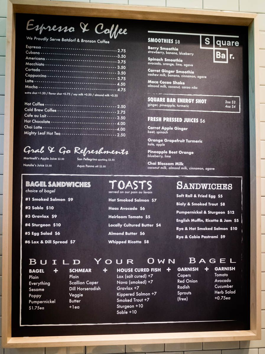 The posted menu for Square Bar.