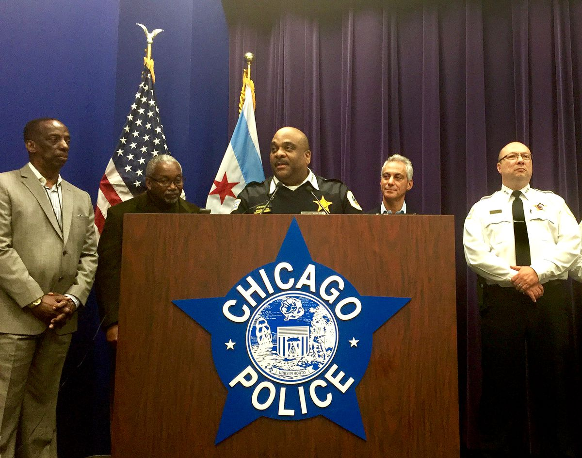 Chicago Police Supt. Eddie Johnson speaks at a press conference at Chicago Police Headquarters in late January to confirm he is on a waiting list for a kidney transplant. Joining Johnson were (from left) Jack Lynch of Gift of Hope; Dr. Paul Crawford; Mayo