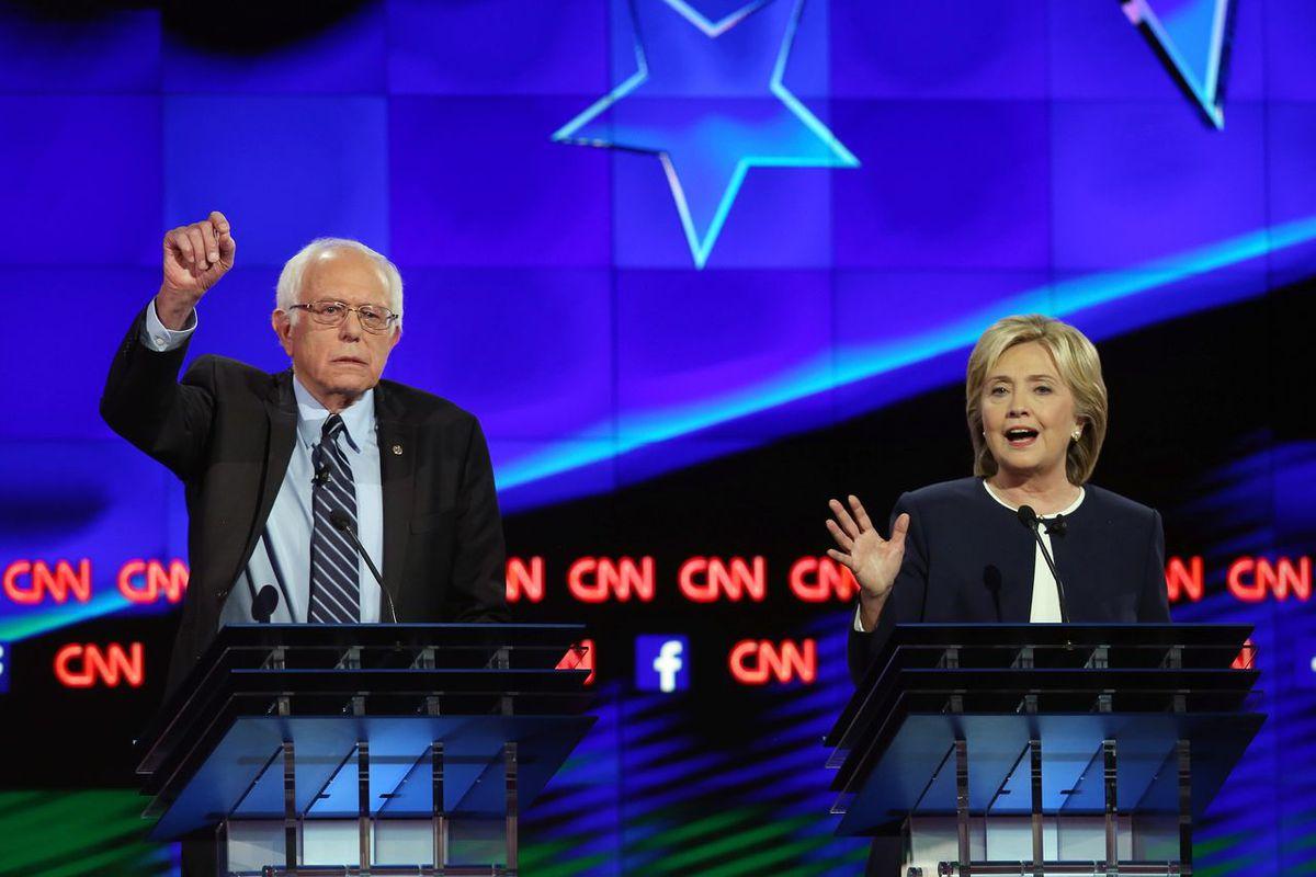 Bernie Sanders and Hillary Clinton at a Democratic debate in October 2015.