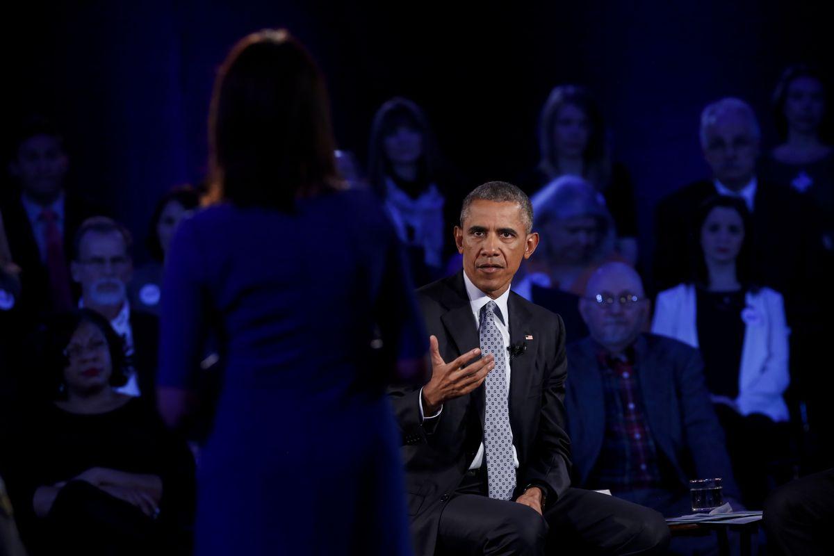 President Obama at a CNN town hall about guns.