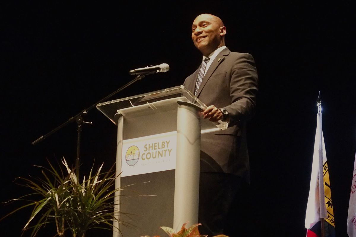 Shelby County Mayor Lee Harris delivers the 2020 county address at Collierville High School on Feb. 21.