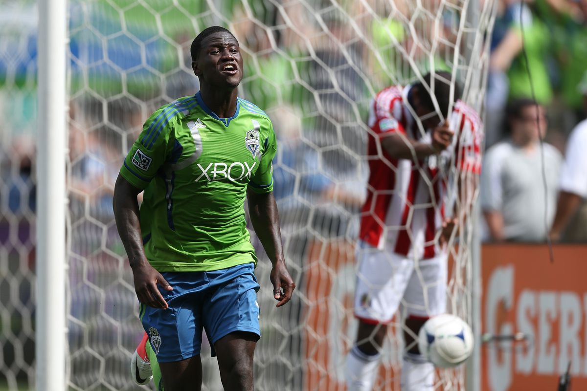 SEATTLE, WA - SEPTEMBER 08:  Eddie Johnson #7 of the Seattle Sounders FC reacts after scoring the winning goal in a 2-1 defeat of Chivas USA at CenturyLink Field on September 8, 2012 in Seattle, Washington.  (Photo by Otto Greule Jr/Getty Images)