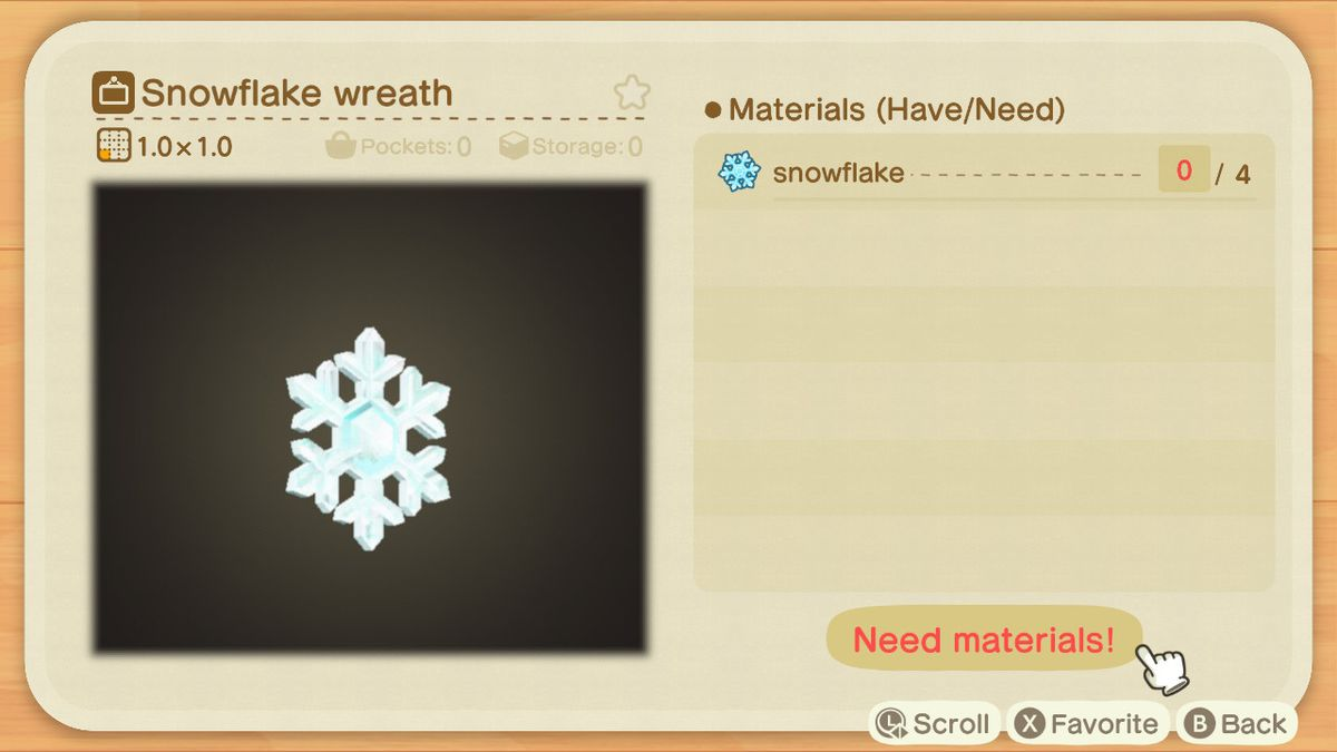 An Animal Crossing recipe for a Snowflake Wreath