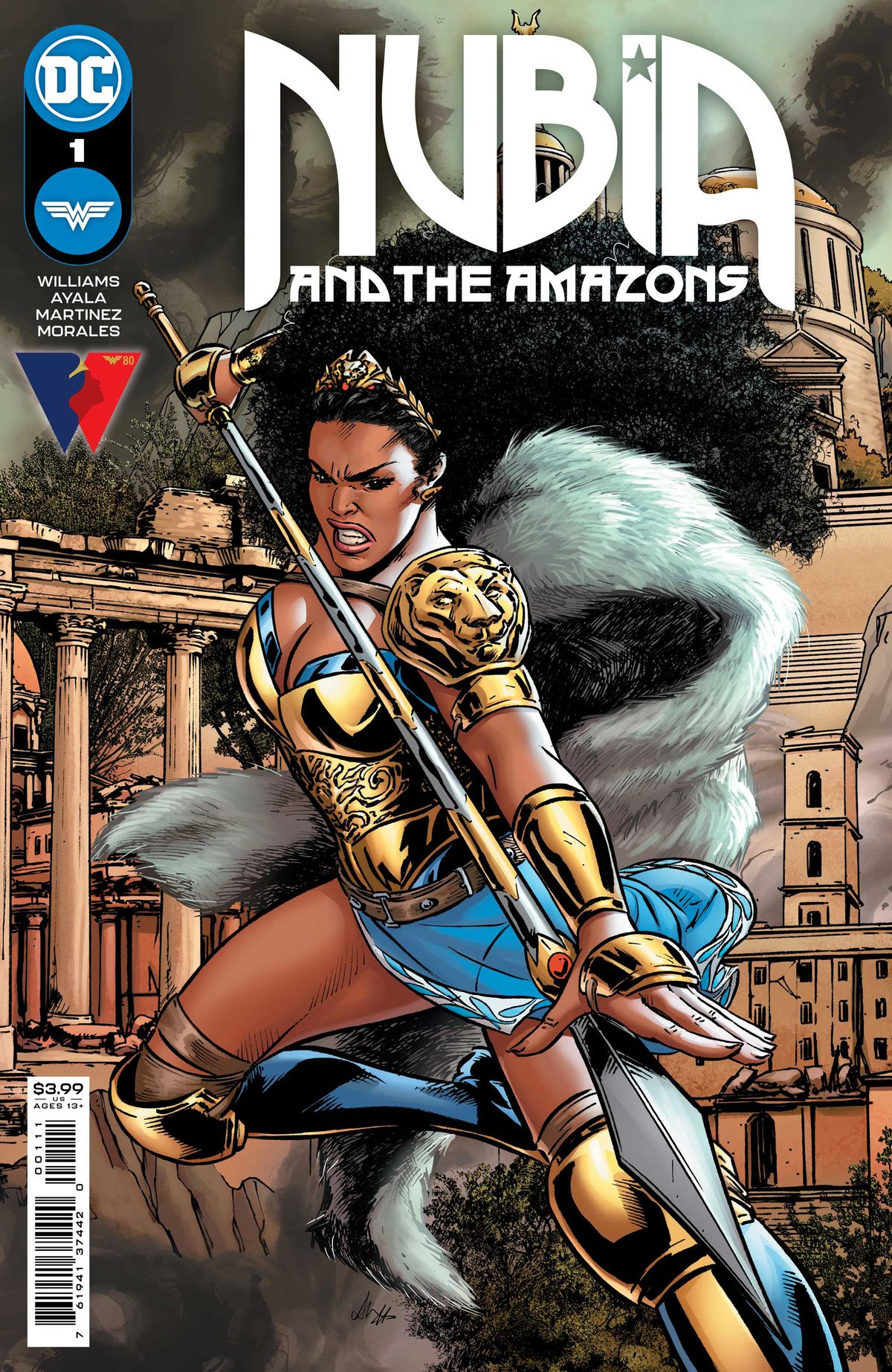 Nubia, Queen of the Amazons, wields a spear on the cover of Nubia and the Amazons # 1 (2021).