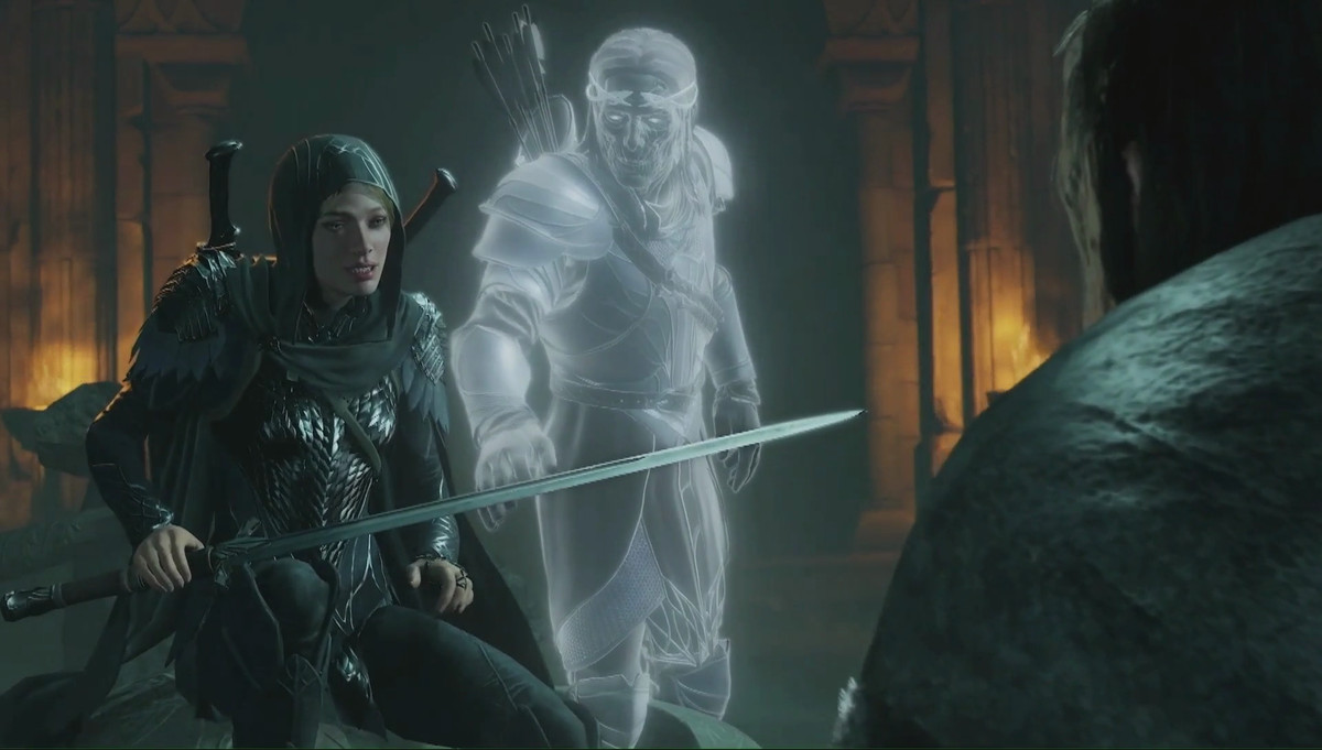 a woman in medieval armor speaks to a man as a ghostly man reaches toward her from behind