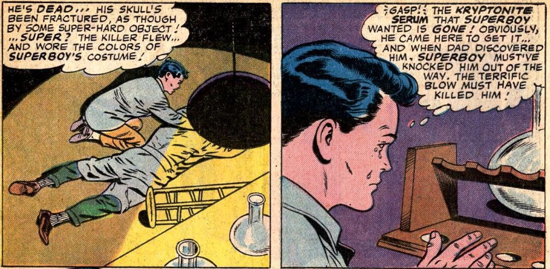 Bruce Wayne examines the scene of his father's death and concludes that Superboy killed him in World's Finest Comics #153, DC Comics (1965).