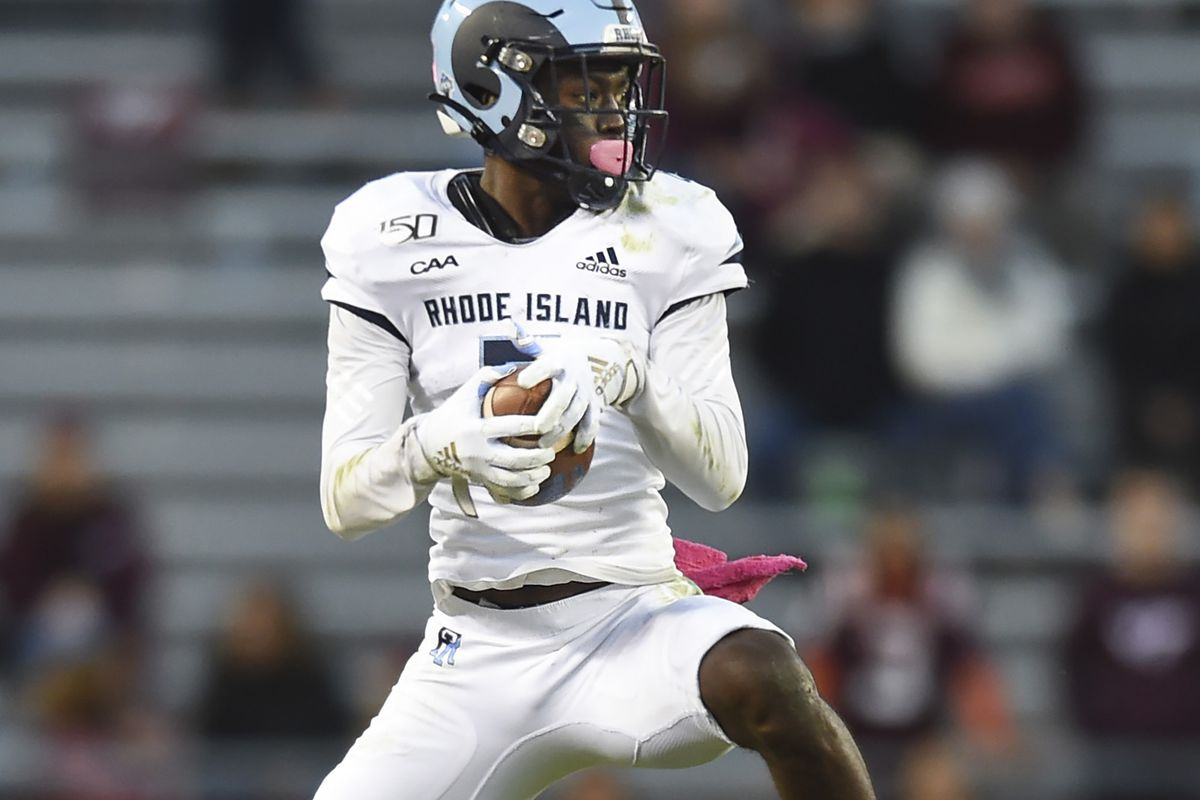 Wide receiver Isaiah Coulter #8 of the Rhode Island Rams makes a reception against the Virginia Tech Hokies in the second half at Lane Stadium on October 12, 2019 in Blacksburg, Virginia.