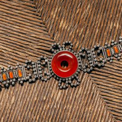 1920-30's Chinese Art Deco Carnelian and Silver Bracelet, $550