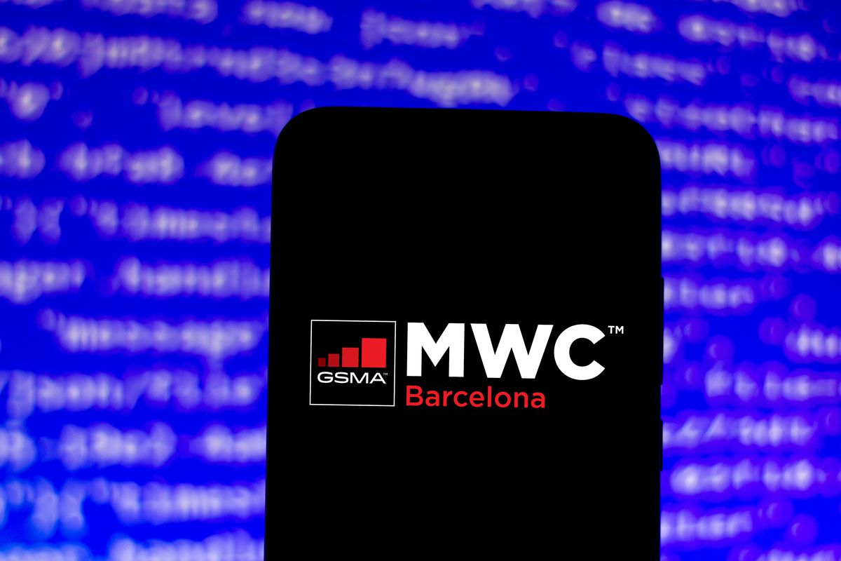 In this photo illustration the GSMA Mobile World Congress (...