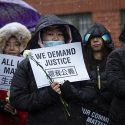 Hundreds of mourners gather for a vigil in a parking lot in the 2000 block of South Wells in Chinatown, where Huayi Bian and Weizhong Xiong were shot to death, Wednesday, Feb. 12, 2020. Bian and Xiong were killed during an apparent robbery, for which Alvin Thomas faces two counts of first-degree murder.