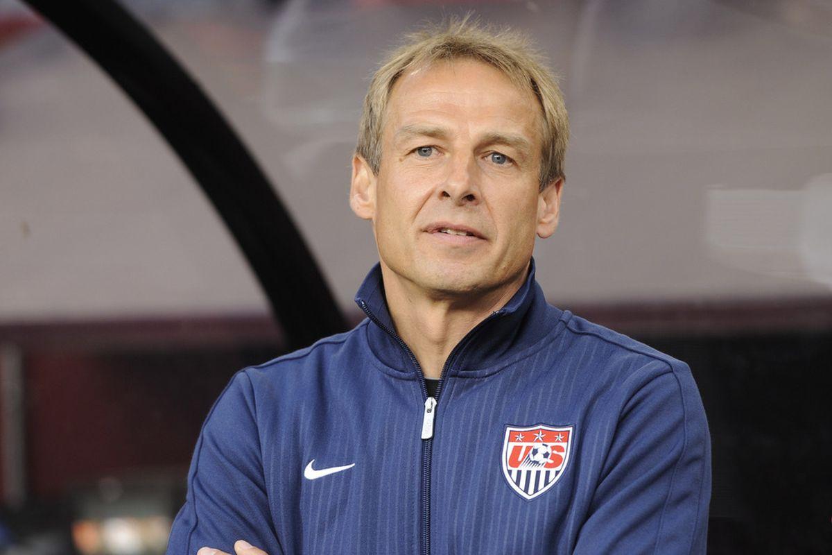May 30, 2012; Landover, MD, USA; USA head coach Jurgen Klinsmann prior to the first half of a men's international friendly match against Brazil at FedEx Field.  Mandatory Credit: Rafael Suanes-US PRESSWIRE