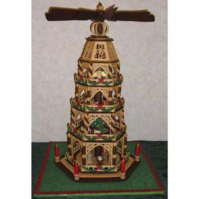 Gingerbread German christmas pyramid with 4 levels.