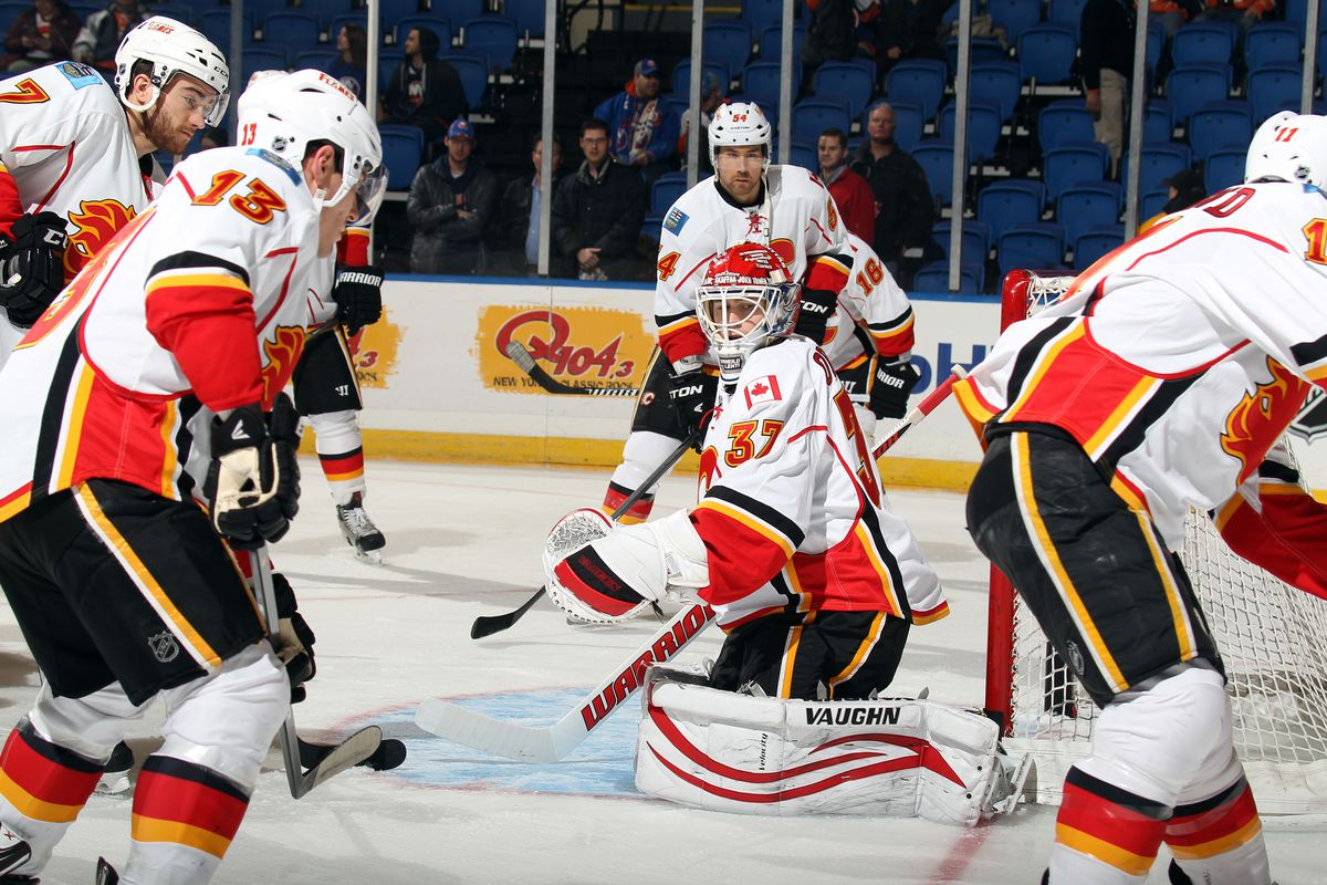 Joni Ortio prepares for NHL action again after being re-called by the Flames.