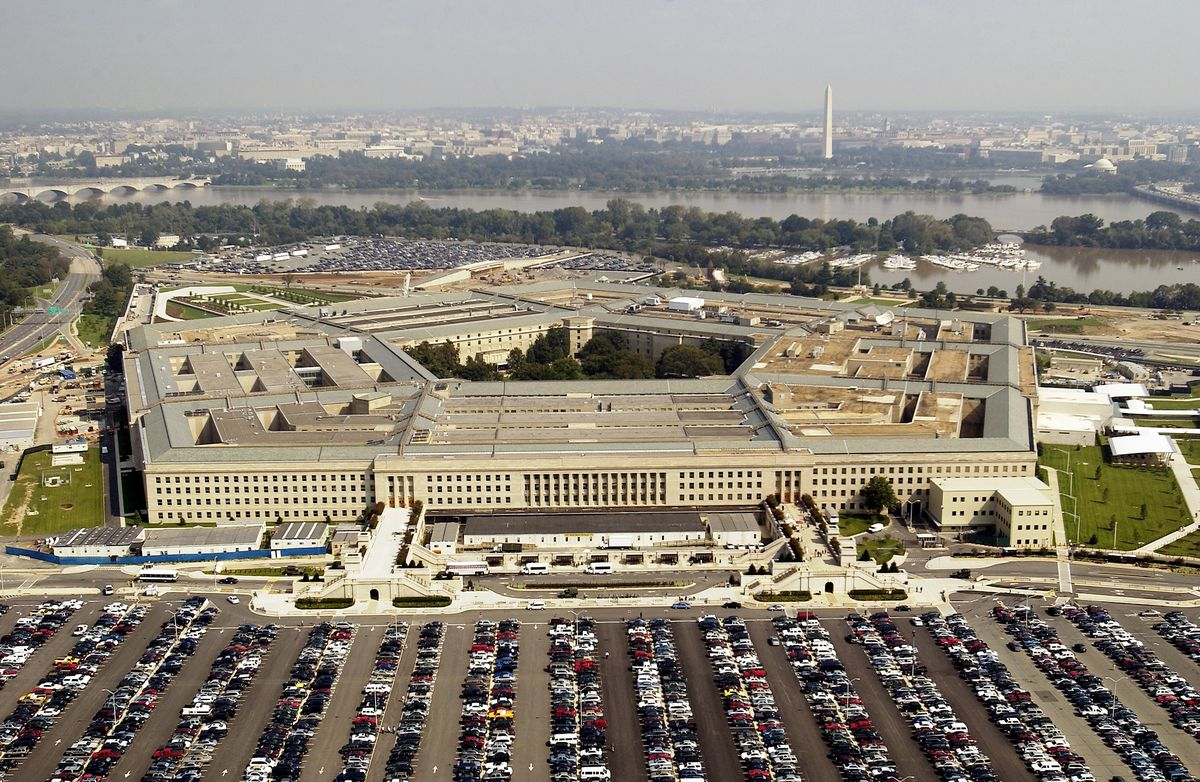 Aerial photo of the Pentagon building and parking lot