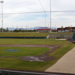 View down first-base line to right field, Superstition Mountains in background