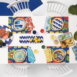 Dinner Plates, $24.99; Rectangular Serving Tray, $19.99; Reversible Placemats, $19.99; Bamboo Serving Set, $29.99