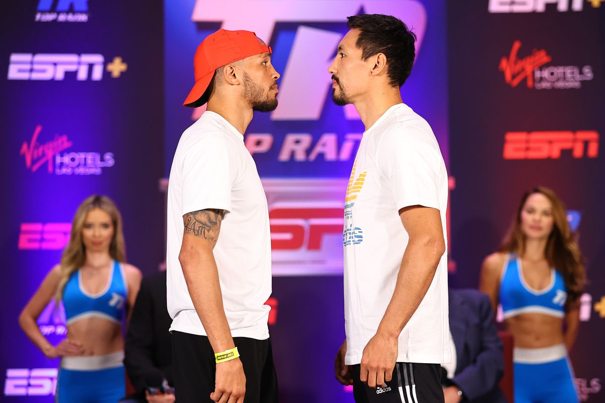 Rob Brant (L) and Janibek Alimkhanuly (R) face-off during their press conference at Virgin Hotels Las Vegas on June 24, 2021 in Las Vegas, Nevada.