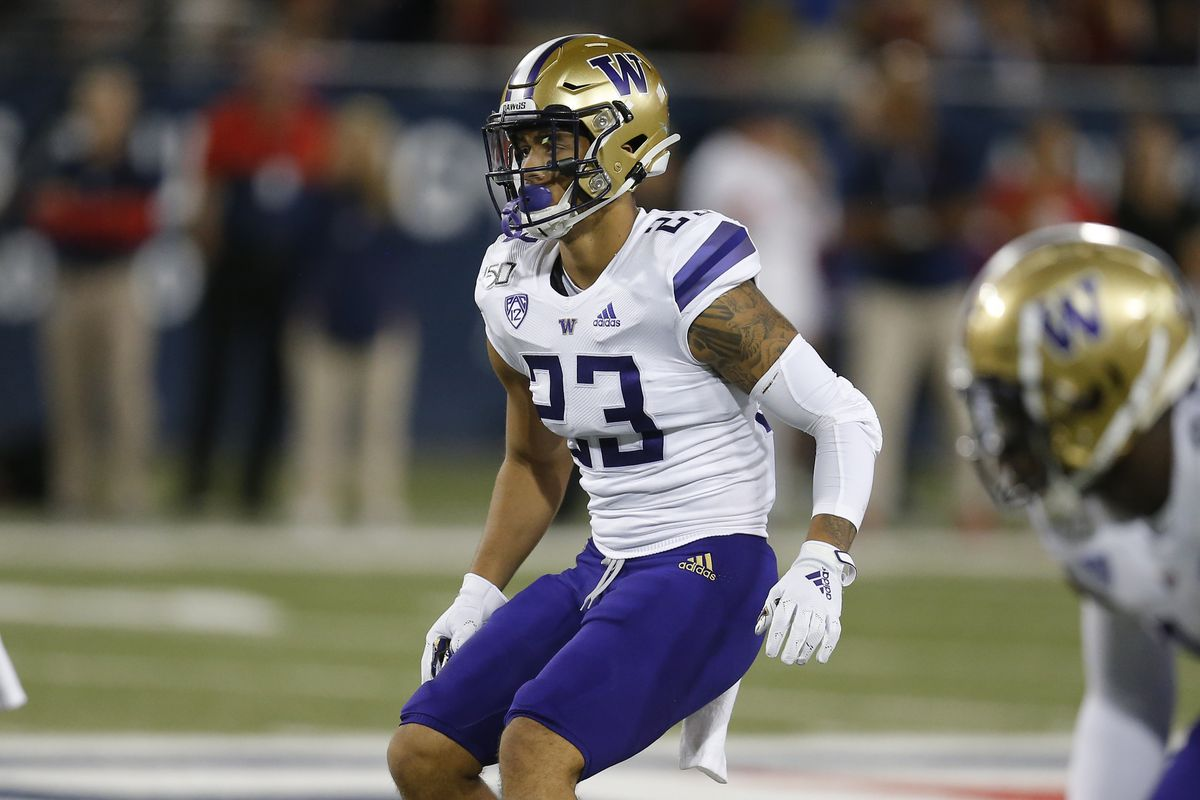 Washington defensive back Brandon McKinney plays in a college football game against Arizona in 2019.