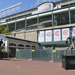 Fencing around Gate D on Addison -- the Ron Santo and Billy Williams statues will remain in place
