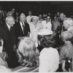 """Left, Cecil B. DeMille, Jesse Evans Smith, Joseph Fielding Smith, Arnold Friberg, President David O. McKay and his wife, Emma Ray Riggs McKay, at the Centre Theatre in Salt Lake City, Utah. The event was termed a """"sneak preview"""" and occurred on Aug. 2, 1956, more than a month prior to the film's national release on Oct. 5."""