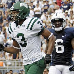 Ohio wide receiver Donte Foster (3) celebrates after catching a fourth quarter touchdown pass as Penn State linebacker Gerald Hodges (6) watches during an NCAA college football game at Beaver Stadium in State College, Pa., Saturday, Sept. 1, 2012. Ohio won 24-14.