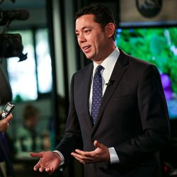 Rep. Jason Chaffetz, R-Utah, talks to reporters at the KSL Broadcast House in Salt Lake City on Wednesday, April 19, 2017.