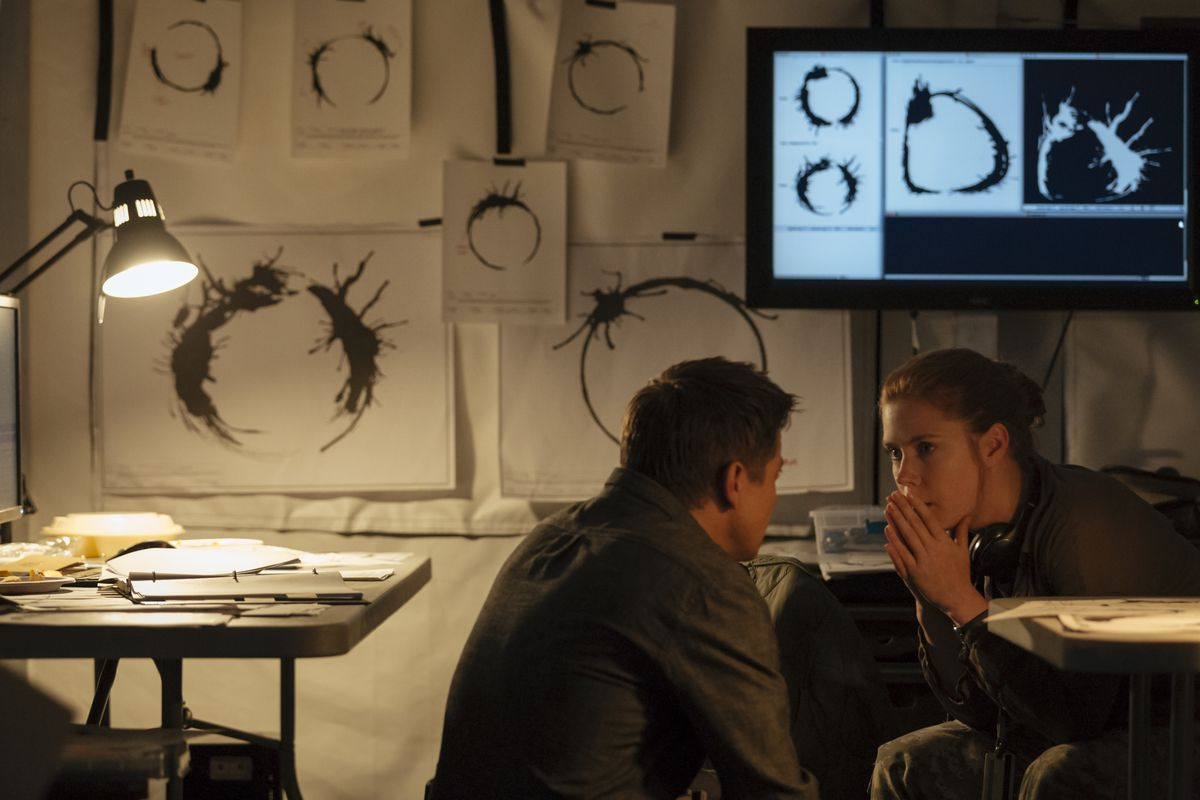 Jeremy Renner and Amy Adams, surrounded by the alien language, in Arrival.