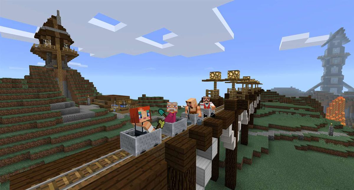 Minecraft - four characters in a mine cart
