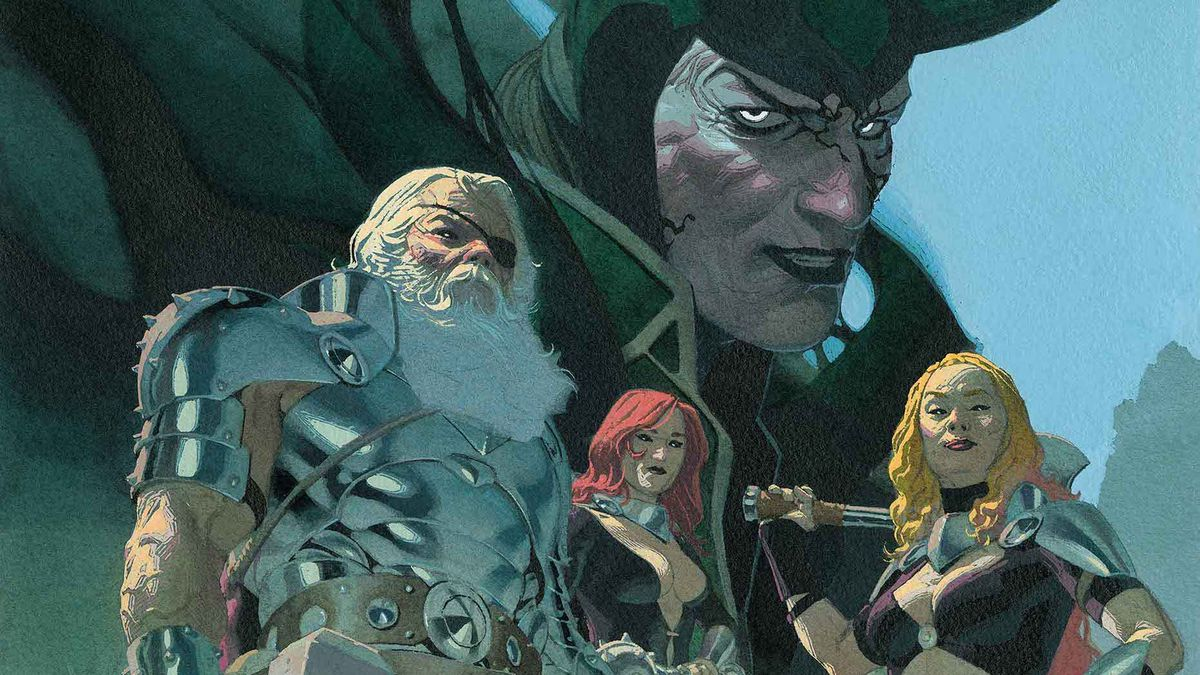 All-Father Thor, two of his granddaughters, the goddesses of thunder, and Loki, on the cover of King Thor #1, Marvel Comics (2019).