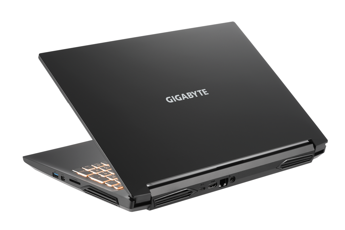 Gigabyte G5 angled away from the camera, half closed, with the Gigabyte logo visible.