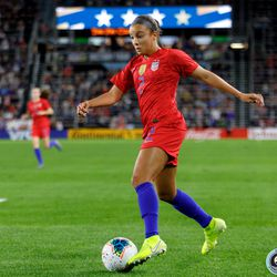 September 3, 2019 - Saint Paul, Minnesota, United States - USA forward Mallory Pugh (2) dribbles the ball during the USA World Cup Victory Tour match against Portugal at Allianz Field.