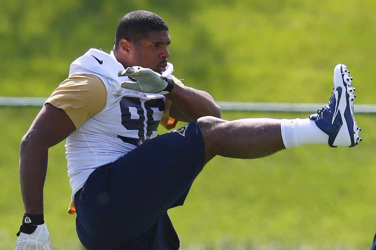 Michael Sam at Rams rookie camp today.