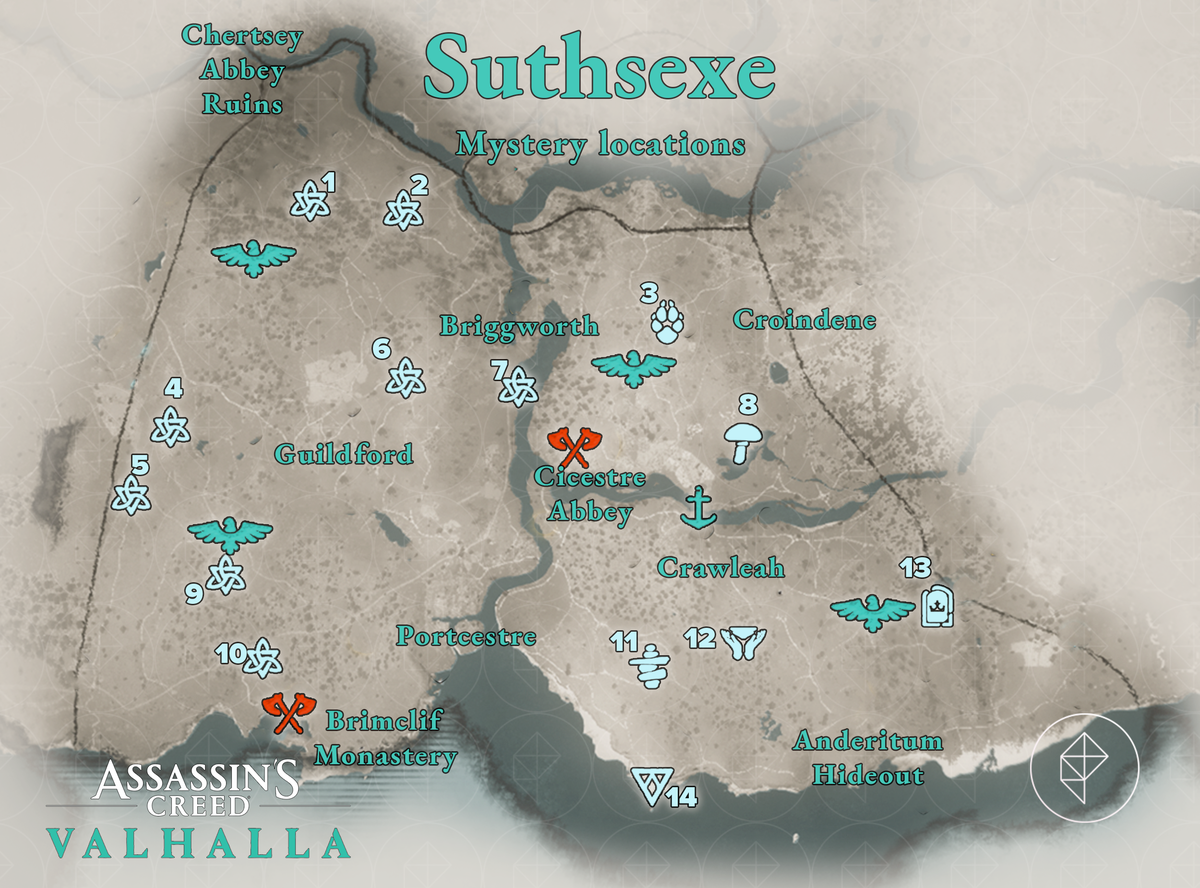 Suthsexe Mysteries locations map