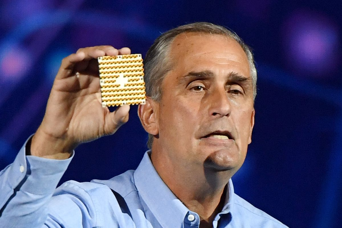 Intel Corp. CEO Brian Krzanich displays a 49-qubit chip as he delivers a keynote address at CES 2018 in Las Vegas on Jan. 8, 2018