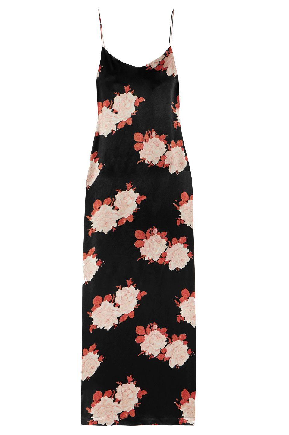 A rose-print dress