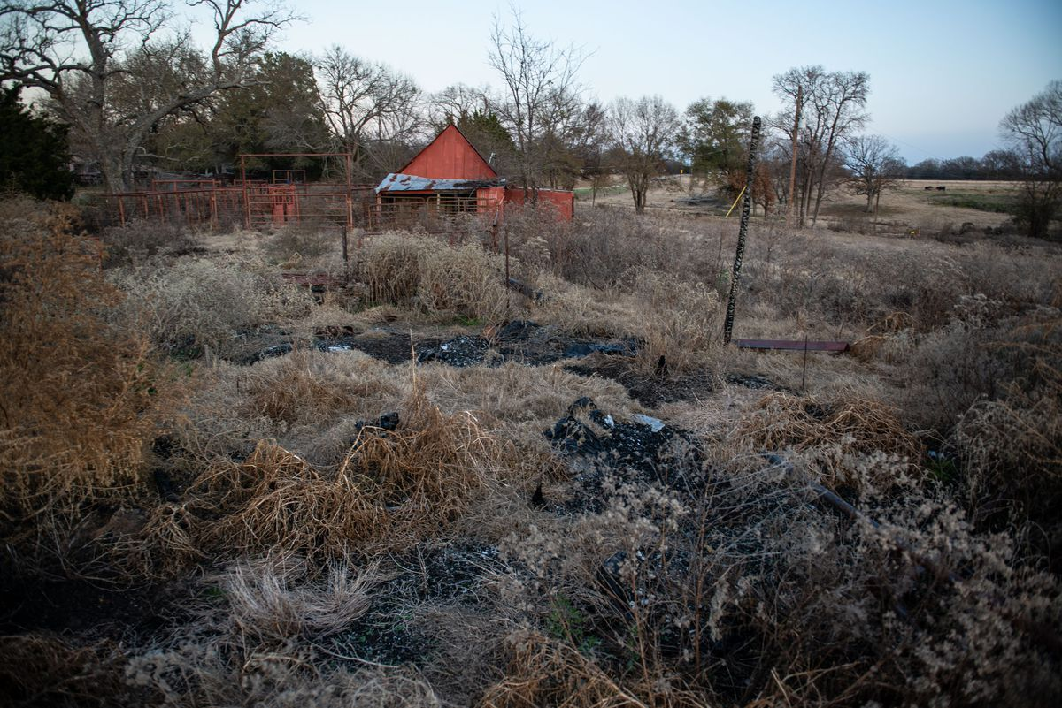 Dr. George Chronis' bunkhouse in Rains County, Texas, was destroyed by fire.