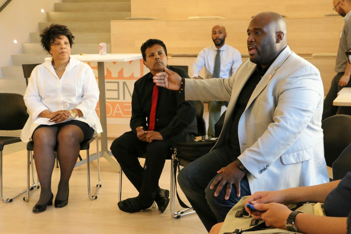 NYC Men Teach staffer Chimere Stephens moderated a discussion between prospective teachers and retired principals in 2016