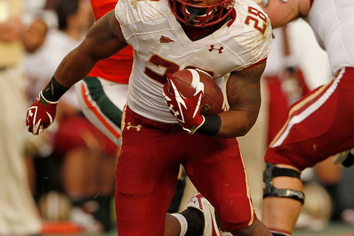 MIAMI GARDENS, FL - NOVEMBER 25:  Rolandan Finch #28 of the Boston College Eagles rushes during a game against the Miami Hurricanes at Sun Life Stadium on November 25, 2011 in Miami Gardens, Florida.  (Photo by Mike Ehrmann/Getty Images)