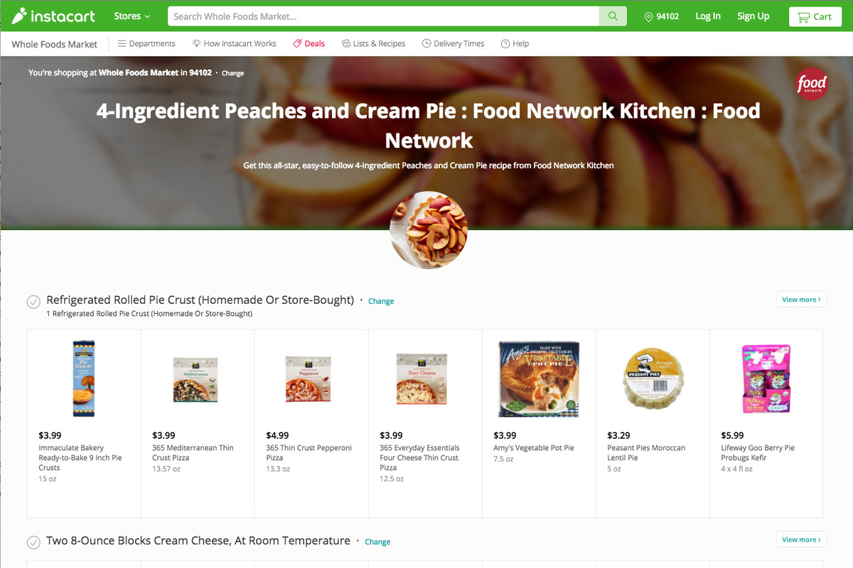 Instacart partners with the Food Network for recipe-ready