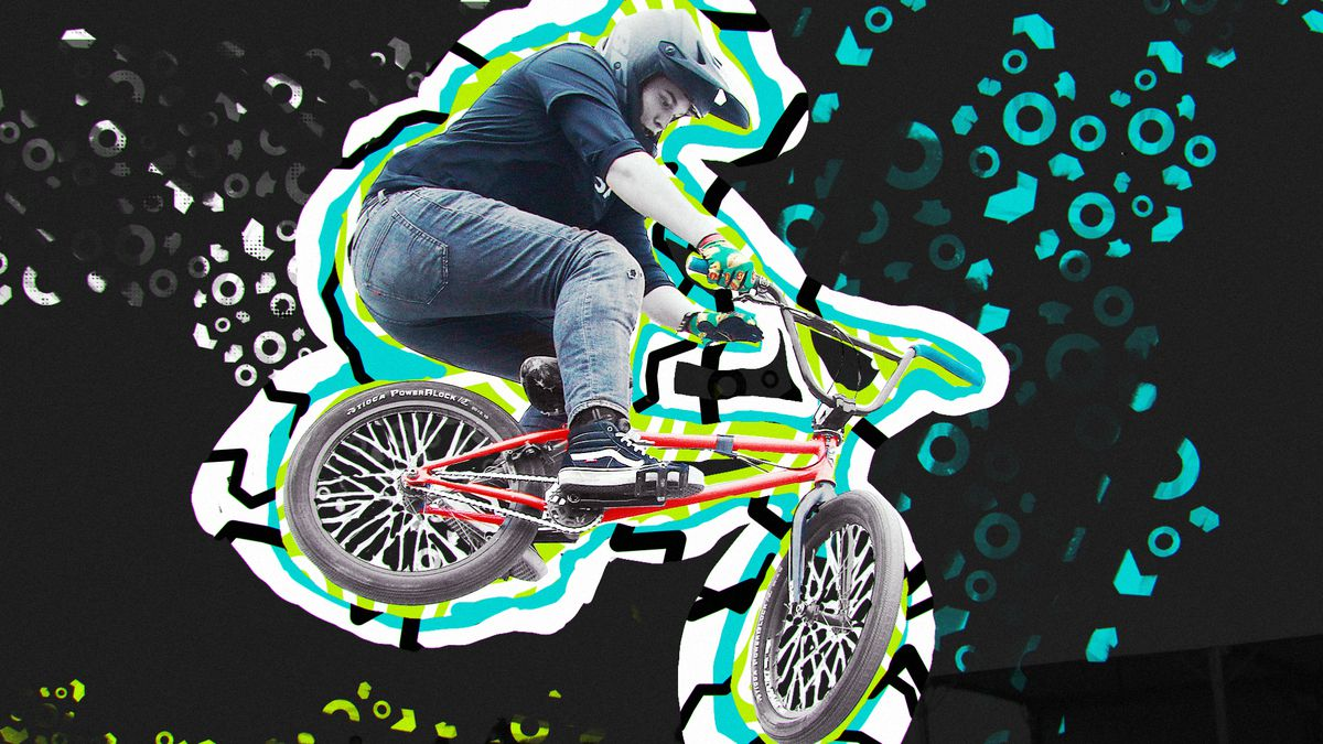 Photo of Hannah Roberts doing an aerial trick on her BMX bike. An illustrator has outlined her image in neon green and blue, on top of a background of neon bubble forms.