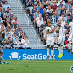 August 7, 2019 - Saint Paul, Minnesota, United States - Portland Timbers defender Claude Dielna (5) is called for a handball in the box as Minnesota United forward Darwin Quintero (25) has his free kick blocked during the US Open Cup semifinal match at Allianz Field.