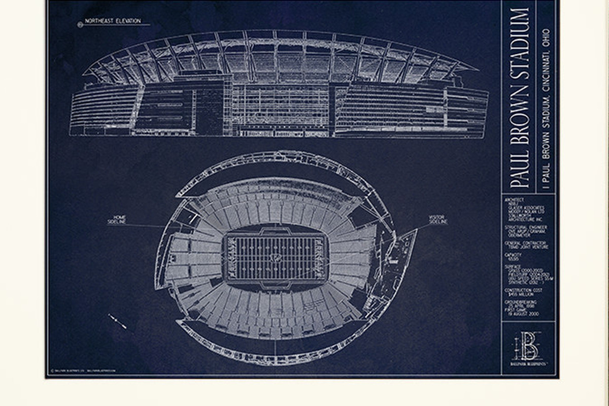 Ballpark blueprints releases paul brown stadium blueprints cincy bring paul brown stadium to your home with an artistic print of the stadium malvernweather Choice Image