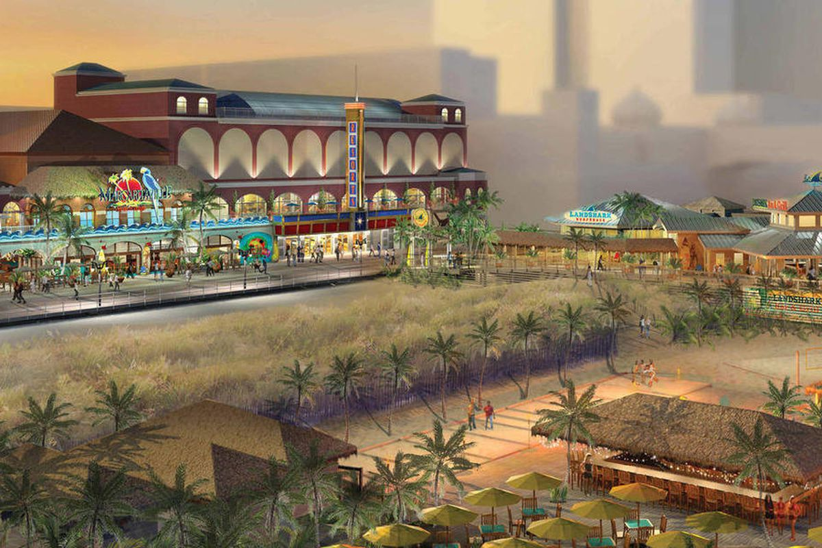 This artist's rendering provided by Resorts Casino Hotel shows the proposed makeover of Resorts Casino Hotel in Atlantic City, N.J. with a Margaritaville theme. Moving quickly on a project designed to be up and running by Memorial Day, the state Departmen