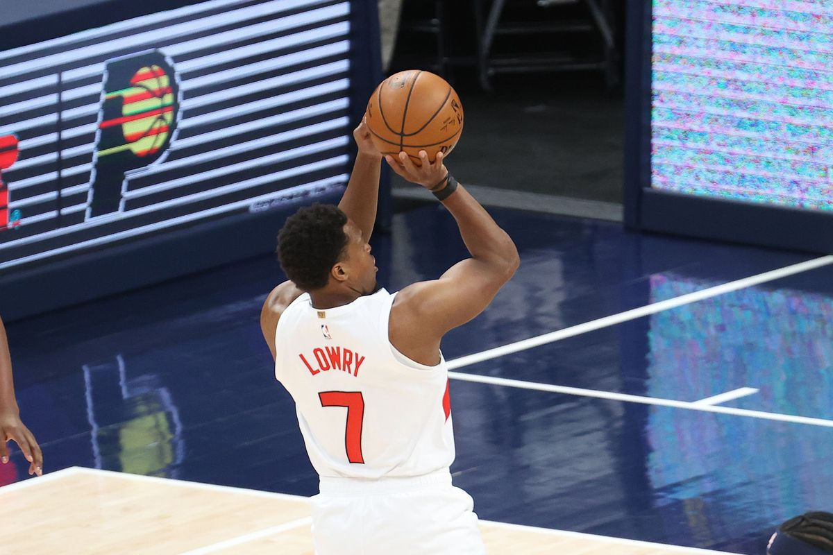 Kyle Lowry of the Toronto Raptors shoots the ball against the Indiana Pacers at Bankers Life Fieldhouse on January 25, 2021 in Indianapolis, Indiana.
